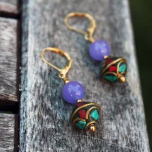 Lavender Jade and Nepal Crafted Bead Gold Earrings